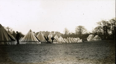 The Camp at Heaton Park. Tents borrowed from Salford Lads� Club.